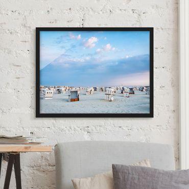 Bild mit Rahmen - Strandkörbe an der Nordsee - Querformat