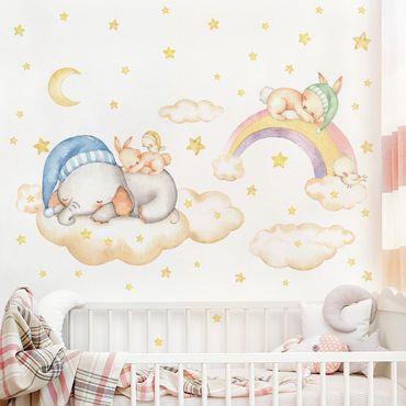 Wandtattoo mehrfarbig - Süße Träume Wolken Sterne Set