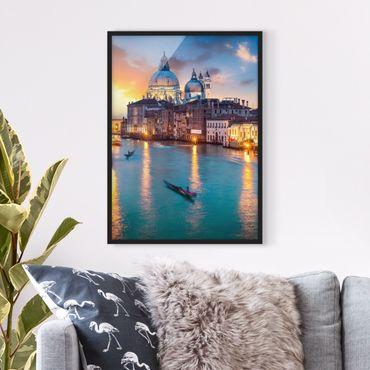 Bild mit Rahmen - Sunset in Venice - Hochformat