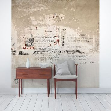 Fototapete Alte Betonwand mit Bertolt Brecht Versen