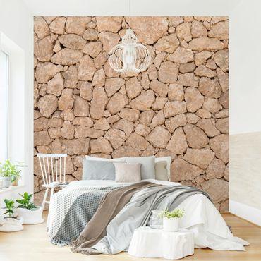 Fototapete Apulia Stone Wall - Alte Steinmauer aus großen Steinen