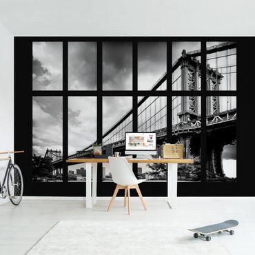 Fototapete Fenster Manhattan Brücke NY