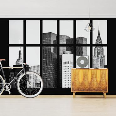 Fototapete Fenster Manhattan Wolkenkratzer