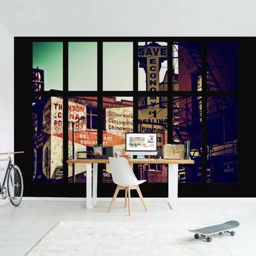 Fototapete Fensterblick Amerikanische Gebäudefassade