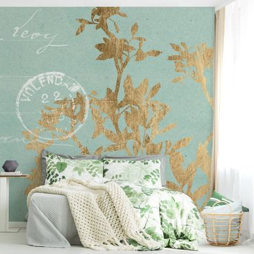 Fototapete - Goldene Blätter auf Turquoise II