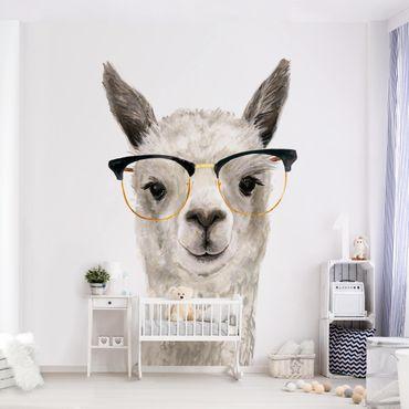 Fototapete - Hippes Lama mit Brille I