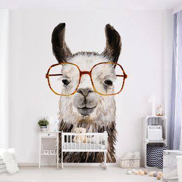 Fototapete - Hippes Lama mit Brille IV