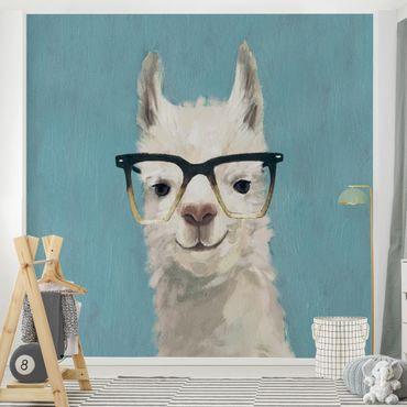 Fototapete - Lama mit Brille IV