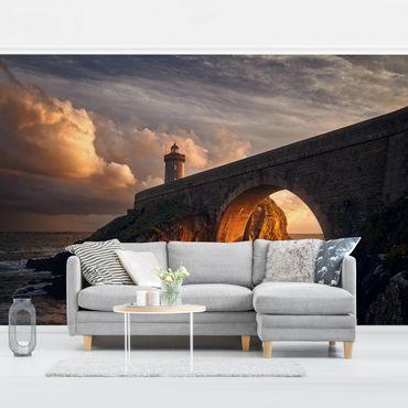 Fototapete Leuchtturm an der Brücke