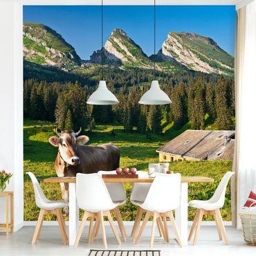 Fototapete Schweizer Almwiese mit Kuh