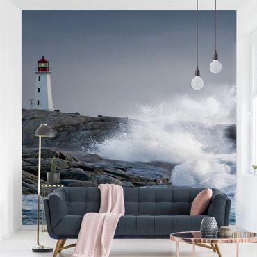Fototapete Sturmwellen am Leuchtturm