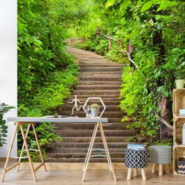 Fototapete Treppenaufstieg im Wald