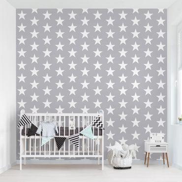 Fototapete Weiße Sterne auf grauen Hintergrund