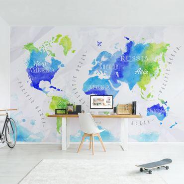Fototapete Weltkarte Aquarell blau grün