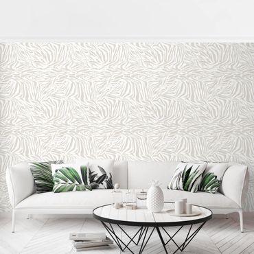 Fototapete - Zebra Design hellgrau Streifenmuster