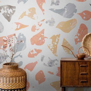 Metallic Tapete  - Terrazzo Muster Lagerfeuer Aquarell