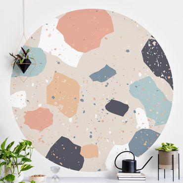 Runde Tapete selbstklebend - Terrazzo Muster