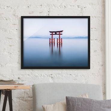 Bild mit Rahmen - Torii im Wasser - Querformat