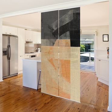 Schiebegardinen Set - Transparente Geometrie - Flächenvorhang