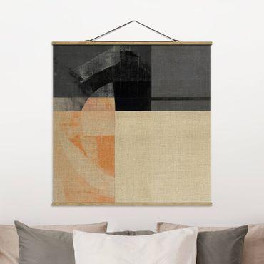 Stoffbild mit Posterleisten - Transparente Geometrie - Quadrat 1:1