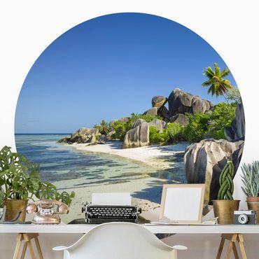 Runde Tapete selbstklebend - Traumstrand Seychellen