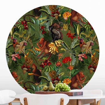 Runde Tapete selbstklebend - Tropische Blumen mit Affen