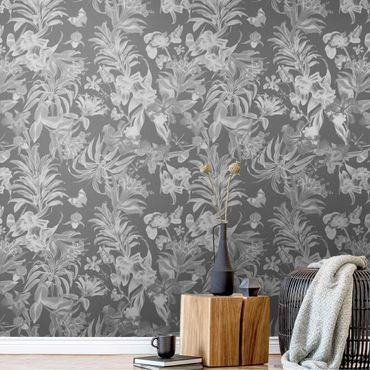 Metallic Tapete  - Tropische Blumen vor Grau