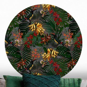 Runde Tapete selbstklebend - Tropische Farne mit Tucan Grün