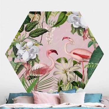 Hexagon Mustertapete selbstklebend - Tropische Flamingos mit Pflanzen in Rosa
