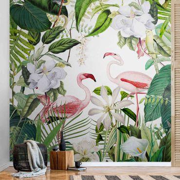 Metallic Tapete  - Tropische Flamingos mit Pflanzen