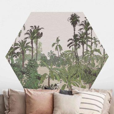 Hexagon Mustertapete selbstklebend - Tropische Zeichnung - Dschungel mit Aquarell