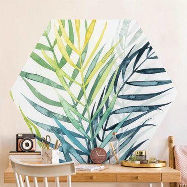 Hexagon Mustertapete selbstklebend - Tropisches Blattwerk - Palme
