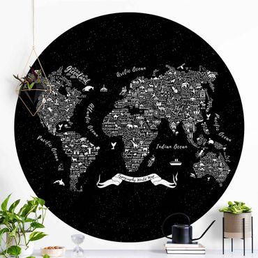 Runde Tapete selbstklebend - Typografie Weltkarte schwarz