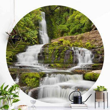 Runde Tapete selbstklebend - Upper McLean Falls in Neuseeland