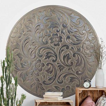 Runde Tapete selbstklebend - Viktorianische Blumenornametik im Kreis