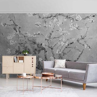 Metallic Tapete  - Vincent van Gogh - Mandelblüte Schwarz-Weiß