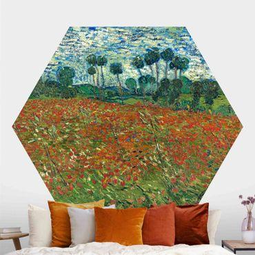 Hexagon Mustertapete selbstklebend - Vincent van Gogh - Mohnfeld