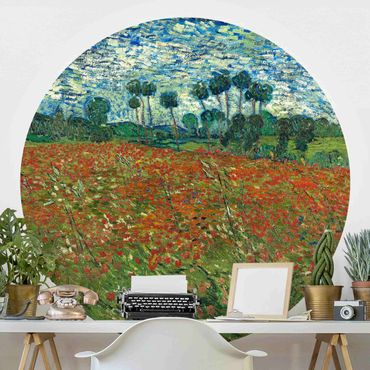 Runde Tapete selbstklebend - Vincent van Gogh - Mohnfeld