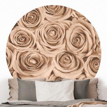 Runde Tapete selbstklebend - Vintage Rosen