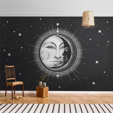 Metallic Tapete  - Vintage Sonne und Mond Illustration