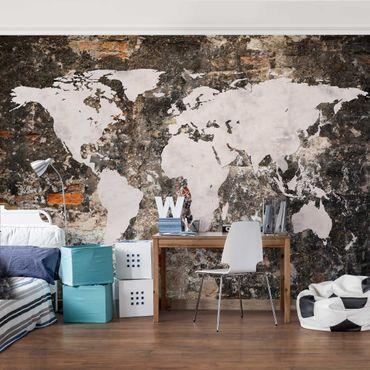 Fototapete Alte Mauer Weltkarte