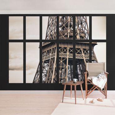 Fototapete Fenster Eiffelturm Paris