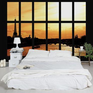 Fototapete Fenster Eiffelturm Paris Sonnenaufgang