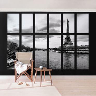 Fototapete Fenster Eiffelturm Seine Paris