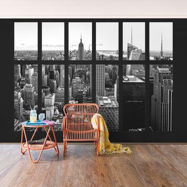 Fototapete Fenster Manhattan Skyline schwarz-weiß