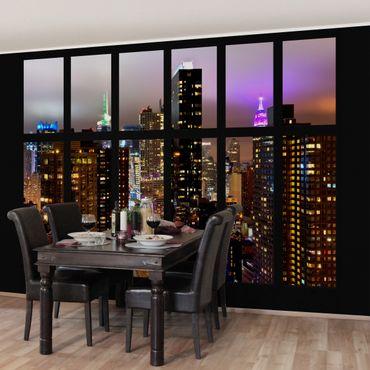 Fototapete Fenster New York Mondlicht