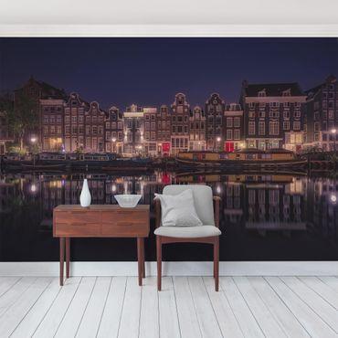Fototapete Hausboote in Amsterdam