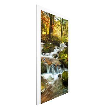 Türtapete - Wasserfall herbstlicher Wald