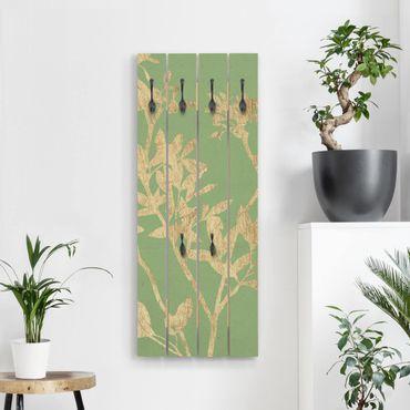 Wandgarderobe Holz - Goldene Blätter auf Lind II