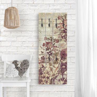 Wandgarderobe Holz - Vintage Blumen Holzoptik II